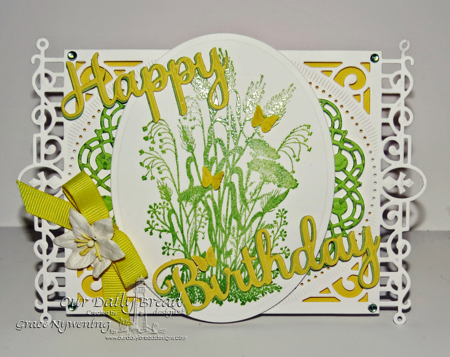 ODBD stamps: Miss You, Happy Birthday Word dies, Doily Dies, designed by Grace Nywening
