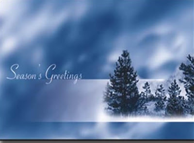 Foggy Blue Christmas Card