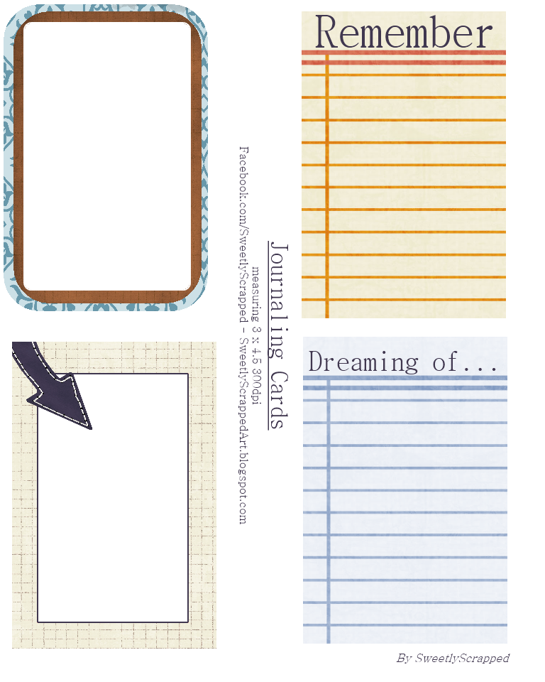 Punchy image with printable journaling cards