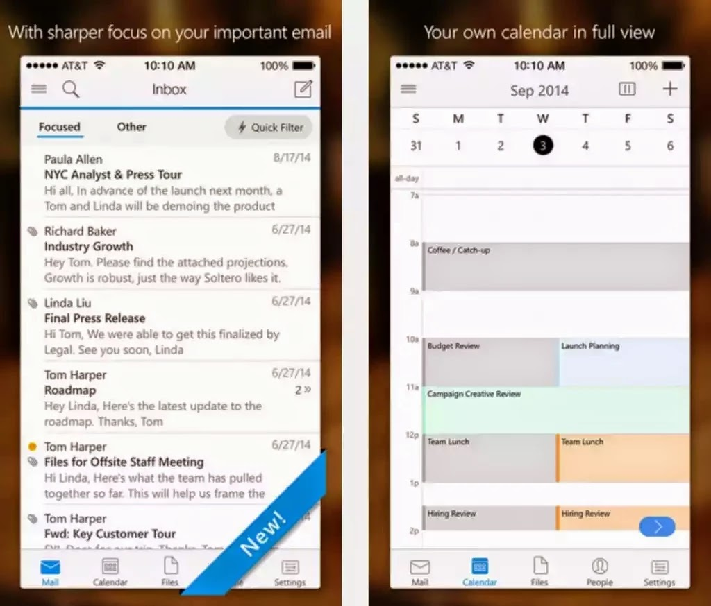 Microsoft's Outlook updated for iOS