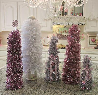 DIY tinsel Christmas Trees
