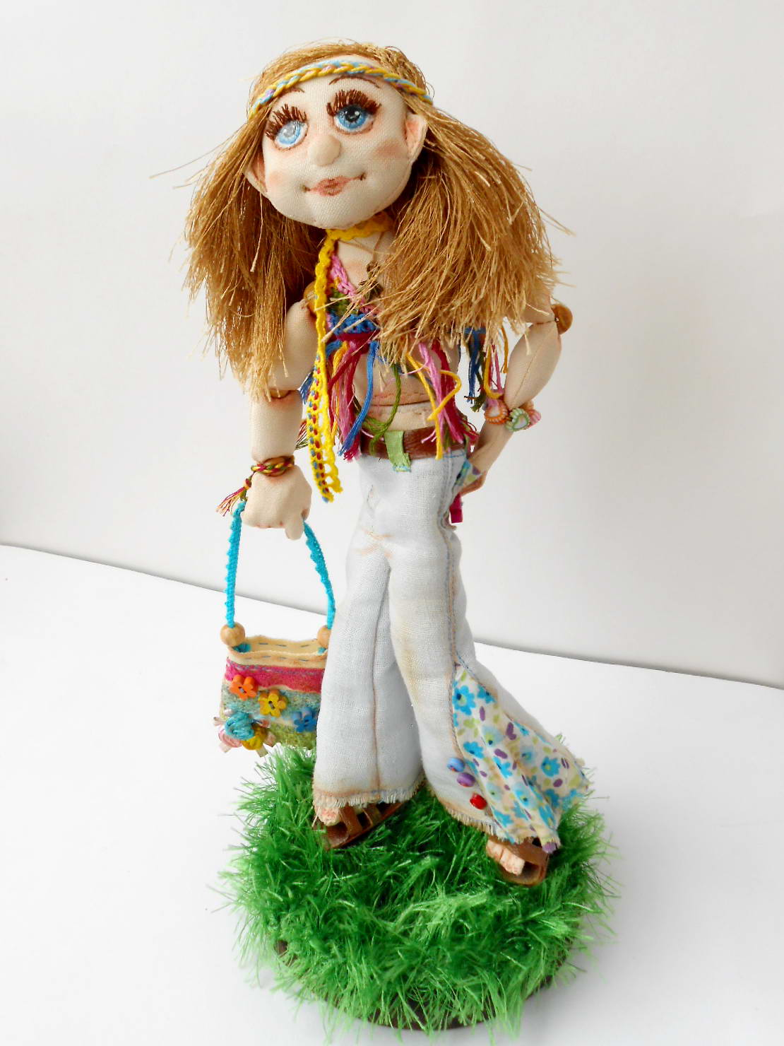 текстильная шарнирная кукла, хиппи, ручная работа