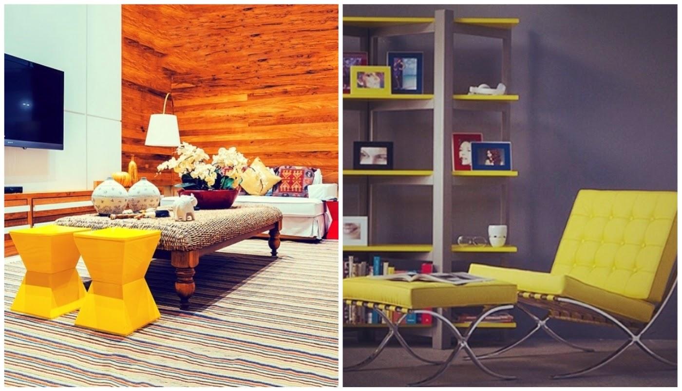 pufis e banquinhos @decoragram e Poltrona Barcelona amarela @decorame