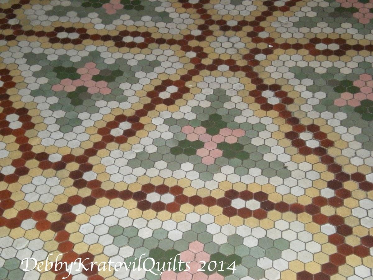 debby kratovil quilts hexagon floor tiles in 100 year. Black Bedroom Furniture Sets. Home Design Ideas