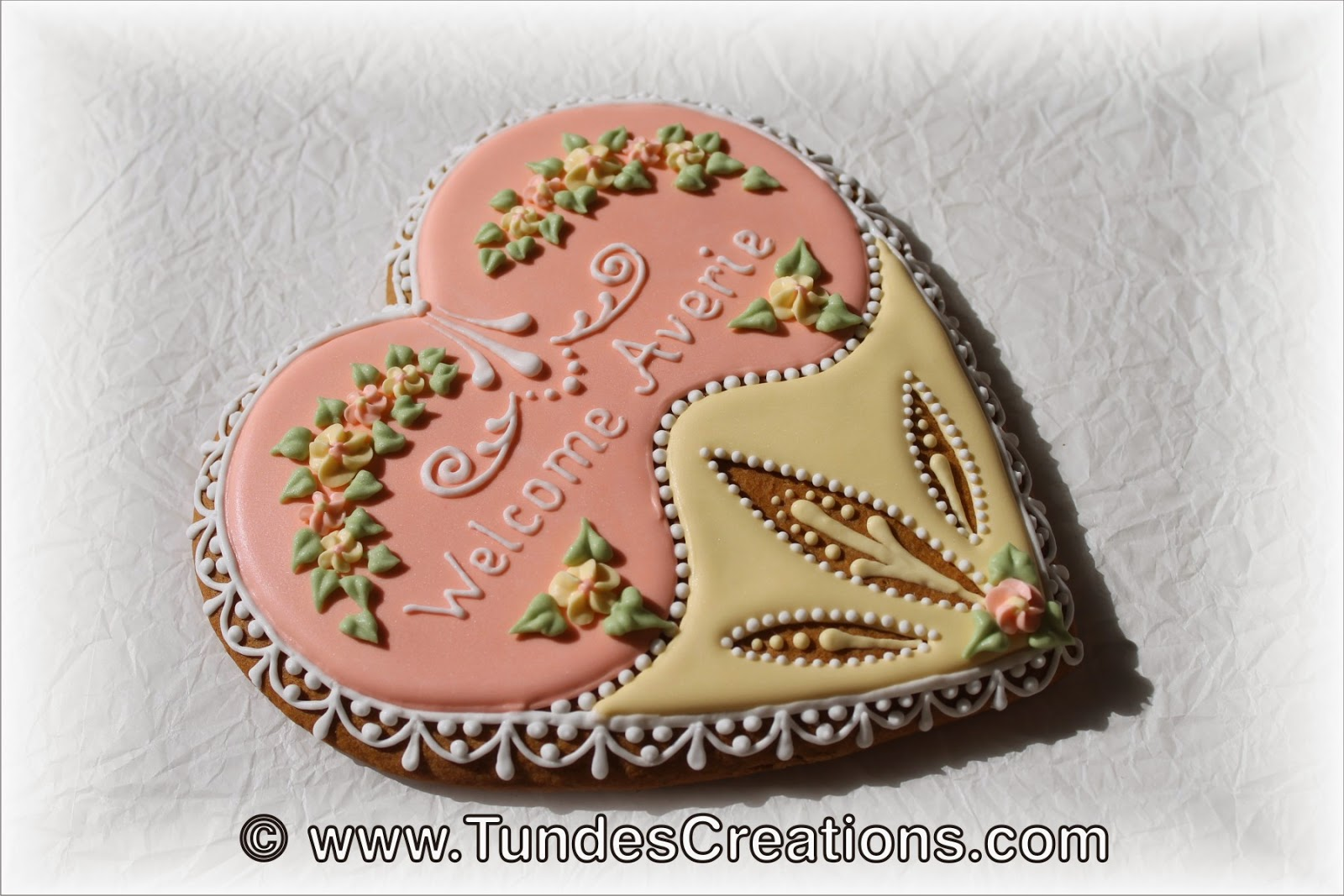 Baby shower cookies - big heart