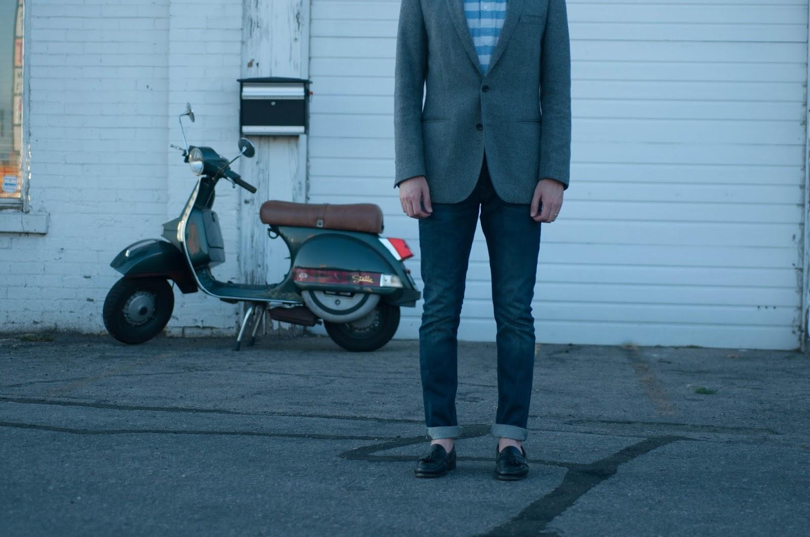 mens style, mens fashion, ootd, jcrew short sleeve pop over shirt, vespa, jcrew, all saints cigarette jeans