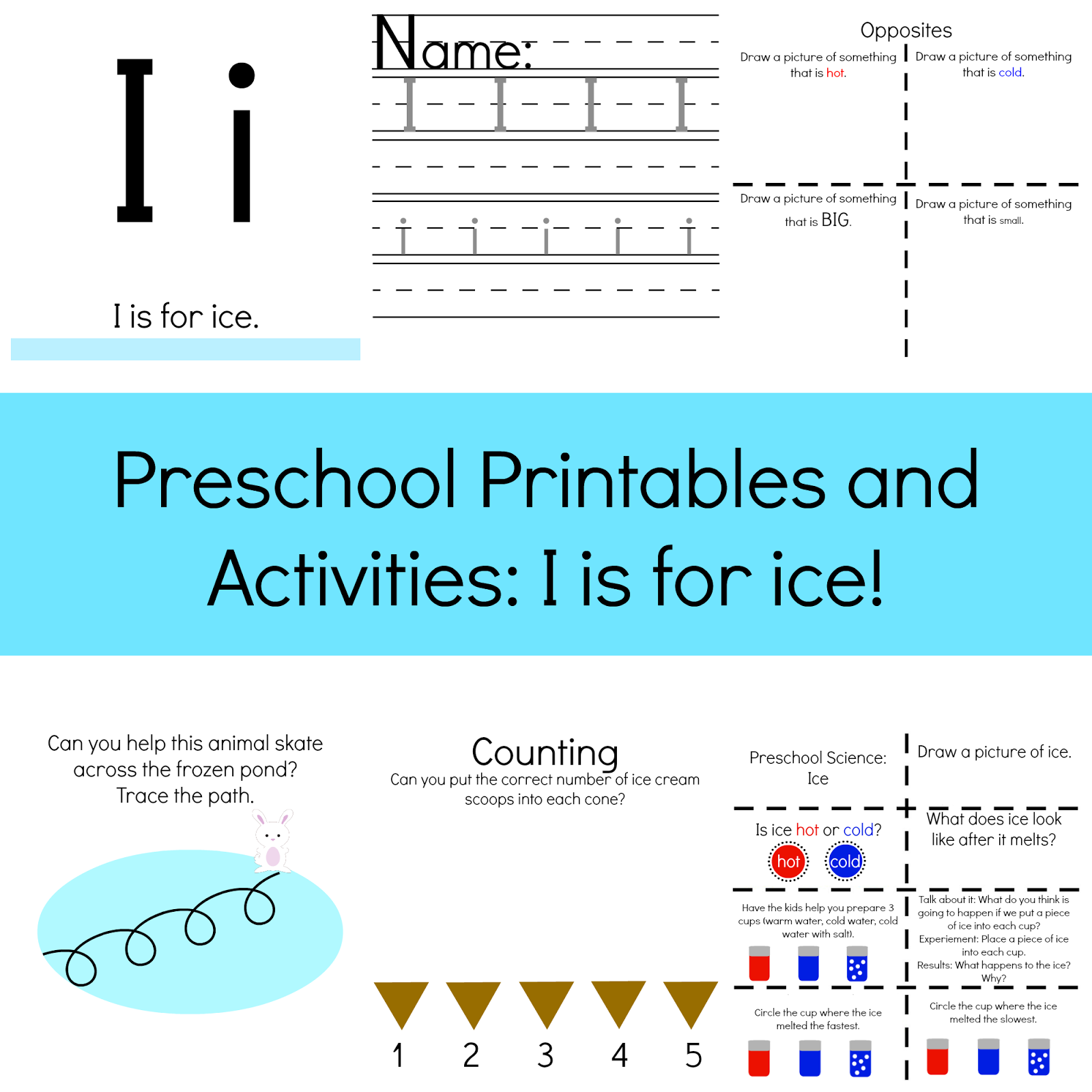The Life of Jennifer Dawn: I is for Ice: Preschool Printables and ...
