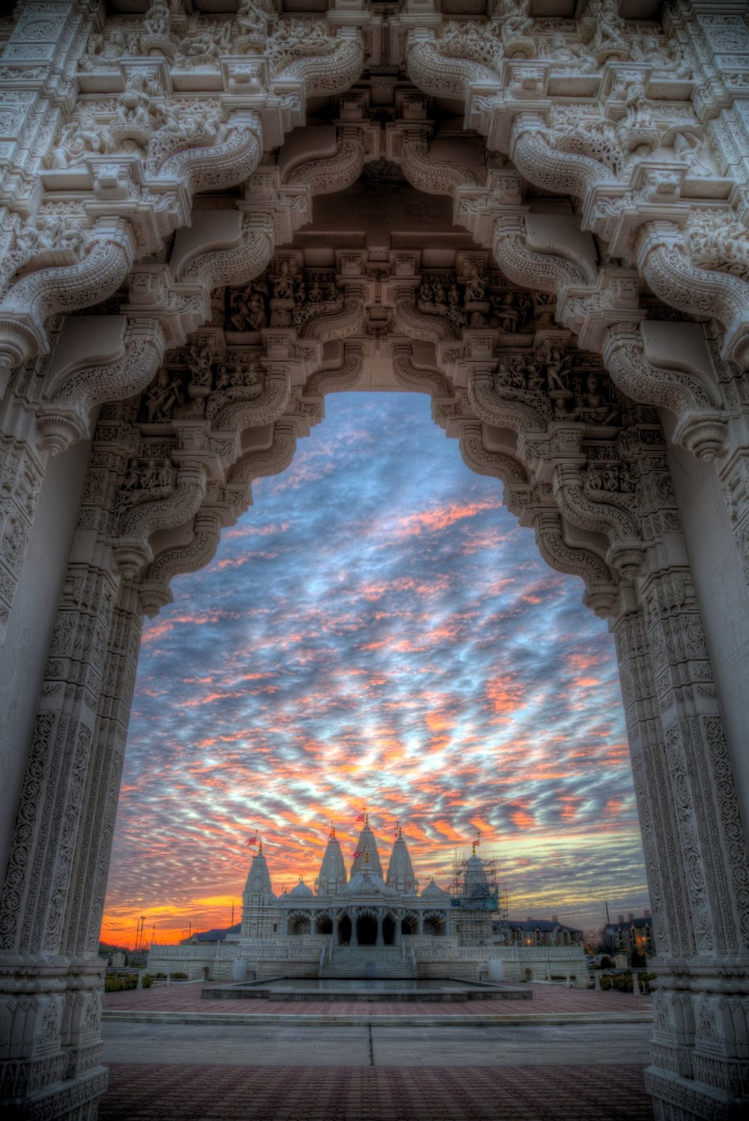 HDR photo of BAPS Shri Swaminarayan Mandir - Houston at sunset- in Stafford, Texas