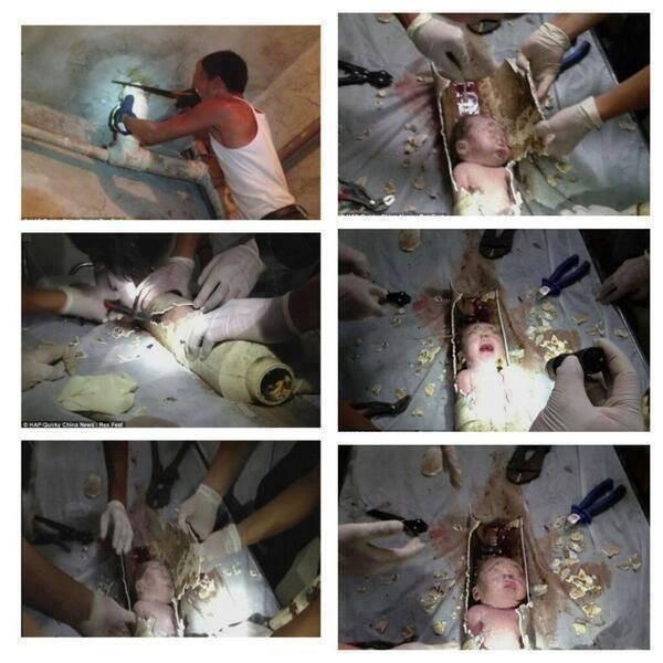 العثور على طفل بأحد مواسير الصرف الصحي بالصين !
