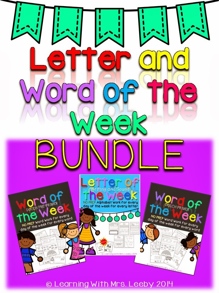 http://www.teacherspayteachers.com/Product/Letter-and-Word-of-the-Week-BUNDLE-Letter-and-Word-Work-for-every-day-1137827