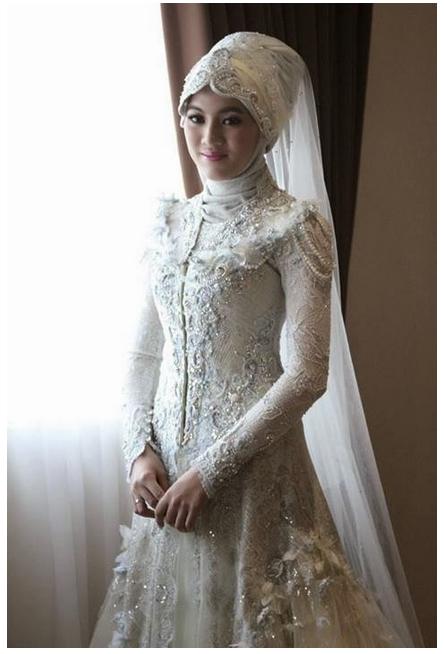 Model contoh gambar baju muslim pengantin modern