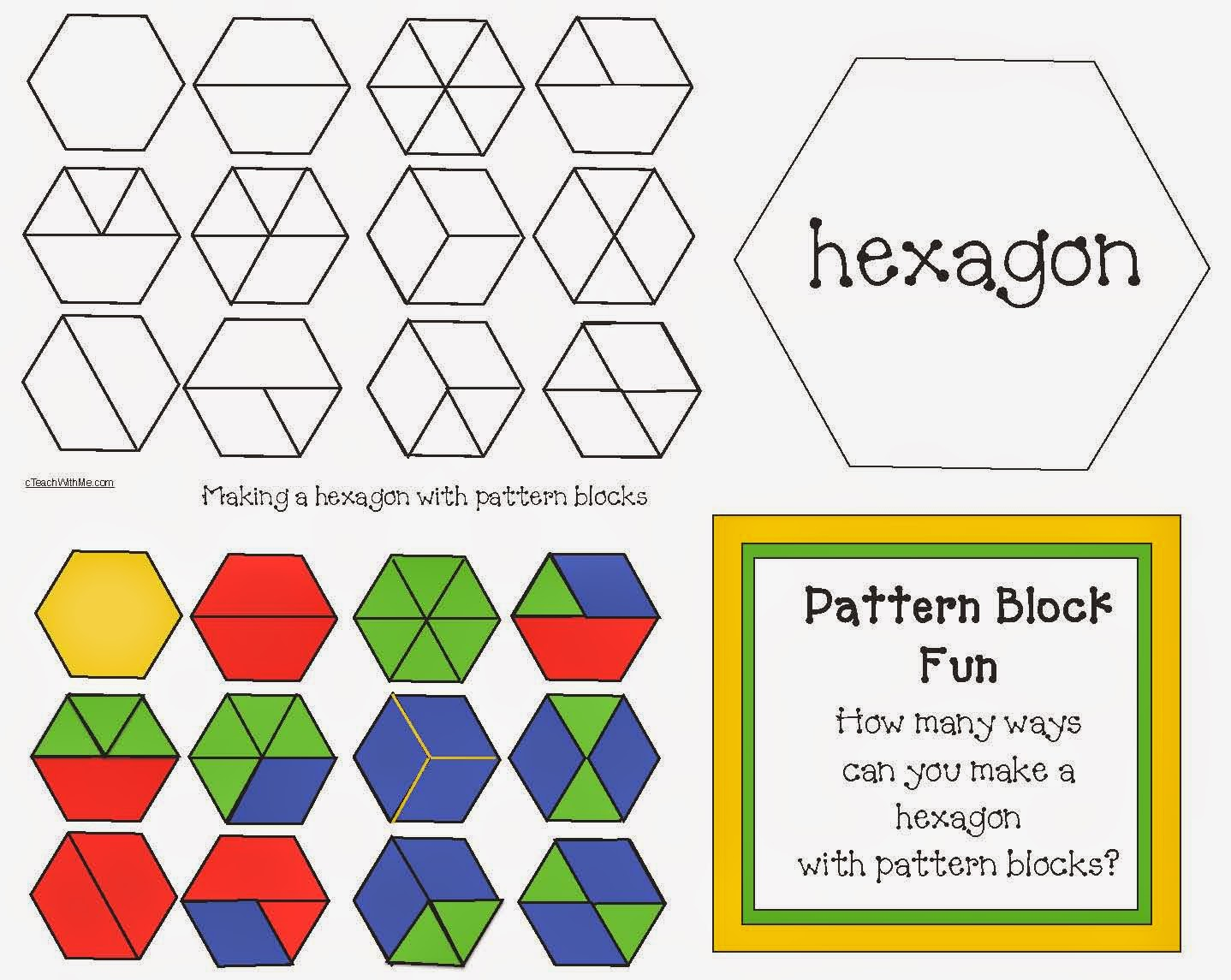 Classroom Freebies: Hexagon Pattern Block Game