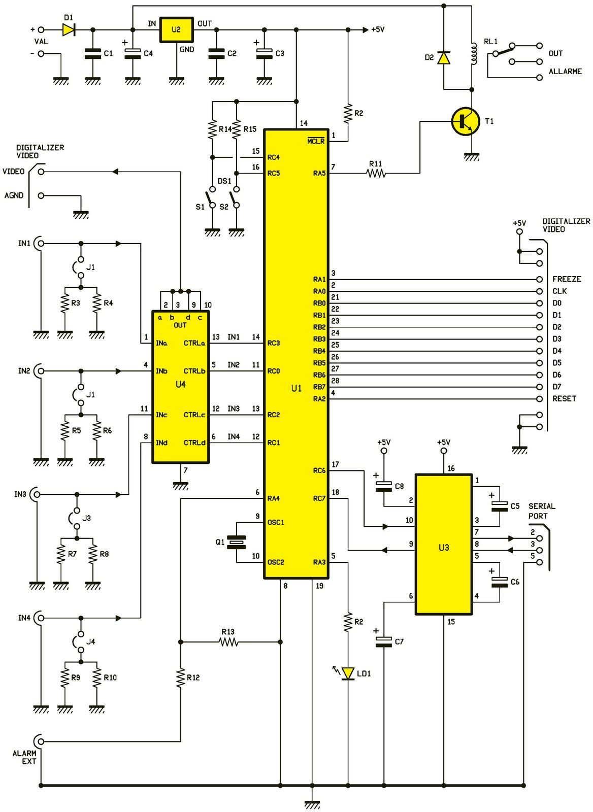 Un num riseur vid o 4 entr es avec d tection de mouvement schema electronique net - Schema electronique detecteur de mouvement ...