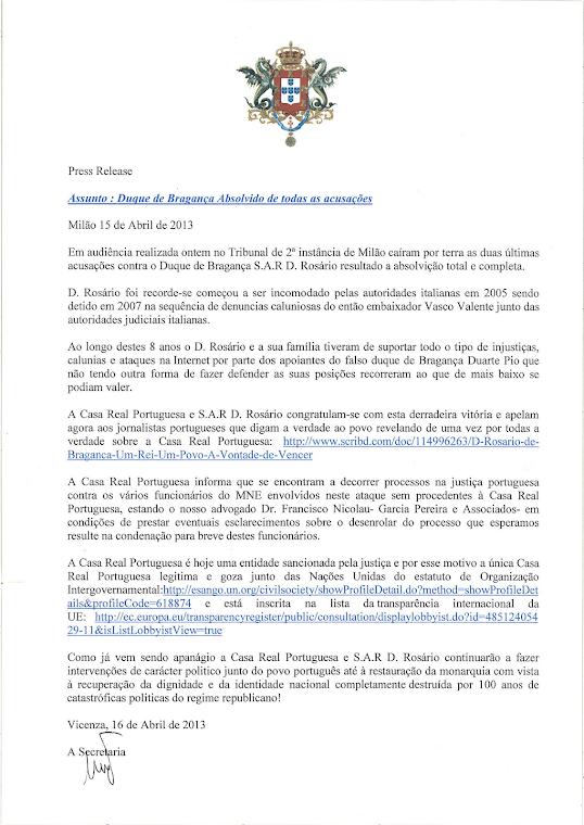 DOM ROSARIO DEFINITIVAMENTE ASSOLTO DA TUTTE LE FOLLI IMPUTAZIONI.