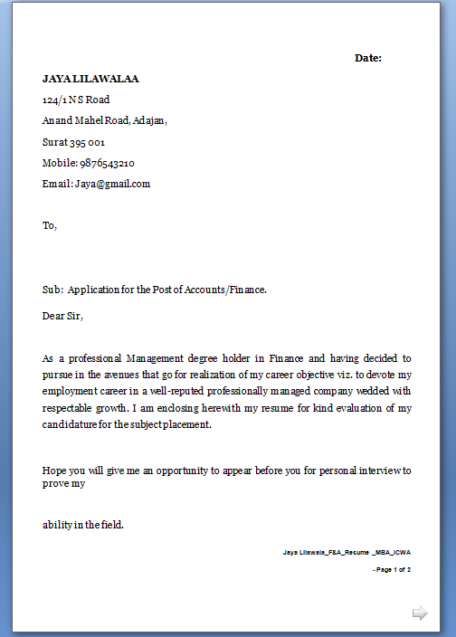 ... Cover Letter / Email Format in word / doc / pdf Free Download
