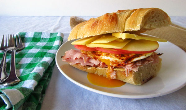 The Best Ham Sandwich with Ham, Egg, Gouda, and Apples