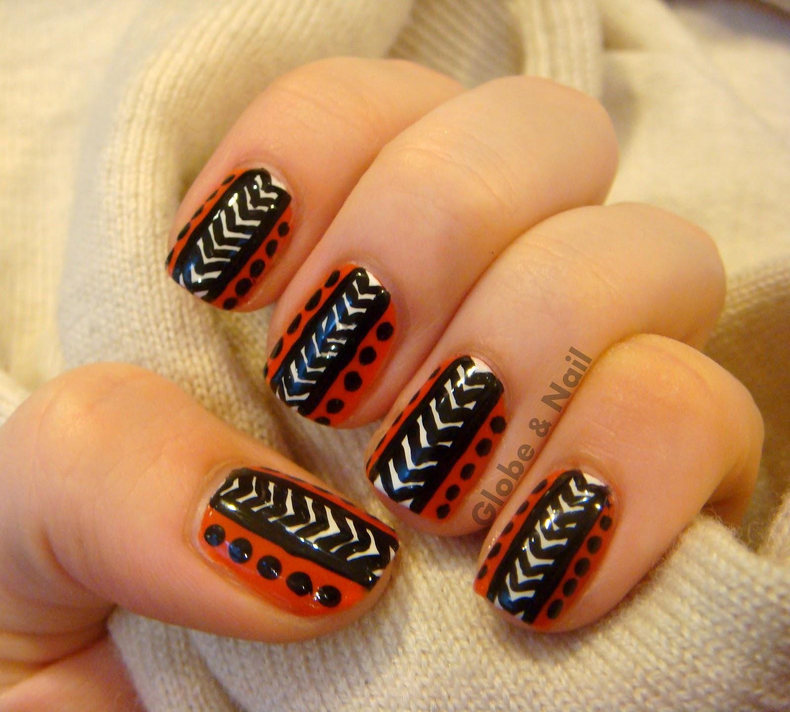 Tribal Nail Art: Globe & Nail: Tribal Nail Art