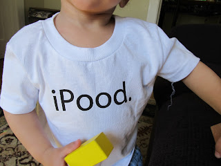 Bean with a white shirt that says iPood.