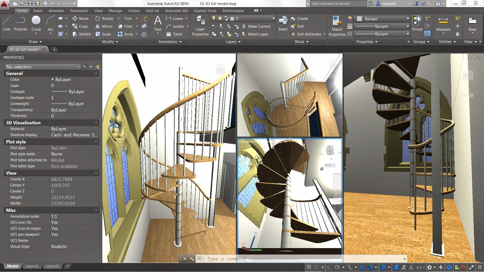 Autocad was used for rendering the remaining images - Model Space Viewport Controls