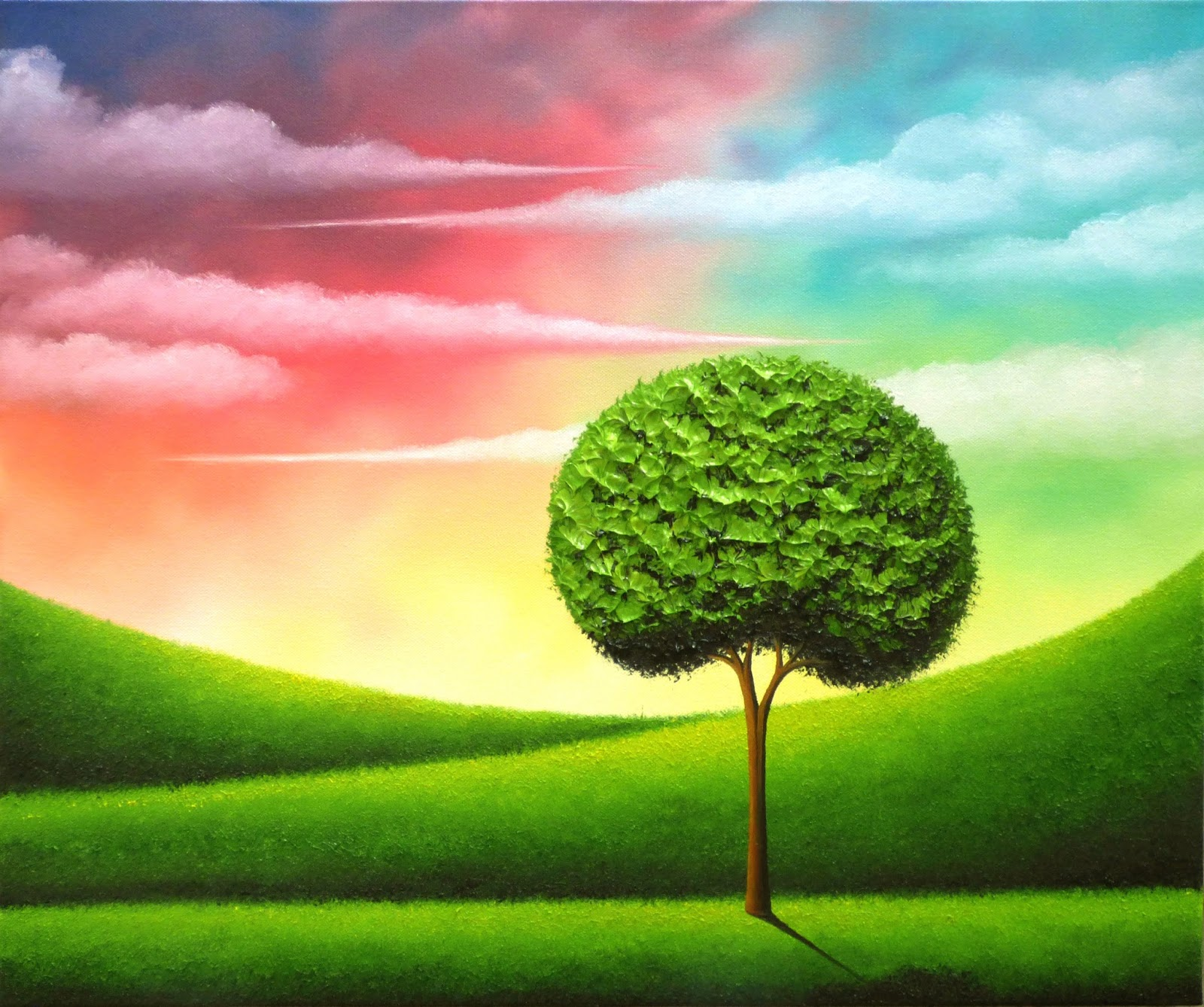 Green Tree Landscape Painting, Colorful Sunset Sky Oil Painting ...