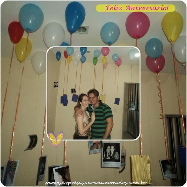 festinha para o namorado no quarto com baloes e fotos