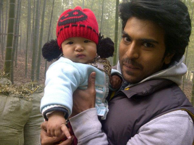 Ram Charan With China Baby In Raccha Shooting Cinema City