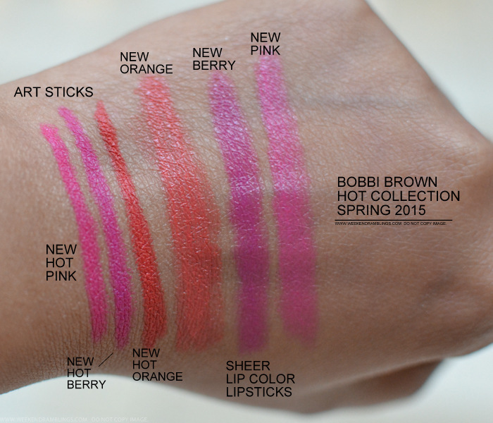 Bobbi Brown Kate Upton Hot Art Sticks Sheer Lip Color Pink Berry Orange Spring 2015 Makeup Collection Swatches