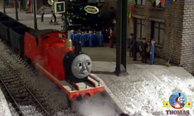 James the red engine Thomas and Edward the tank engine childrens Christmas choral society singers
