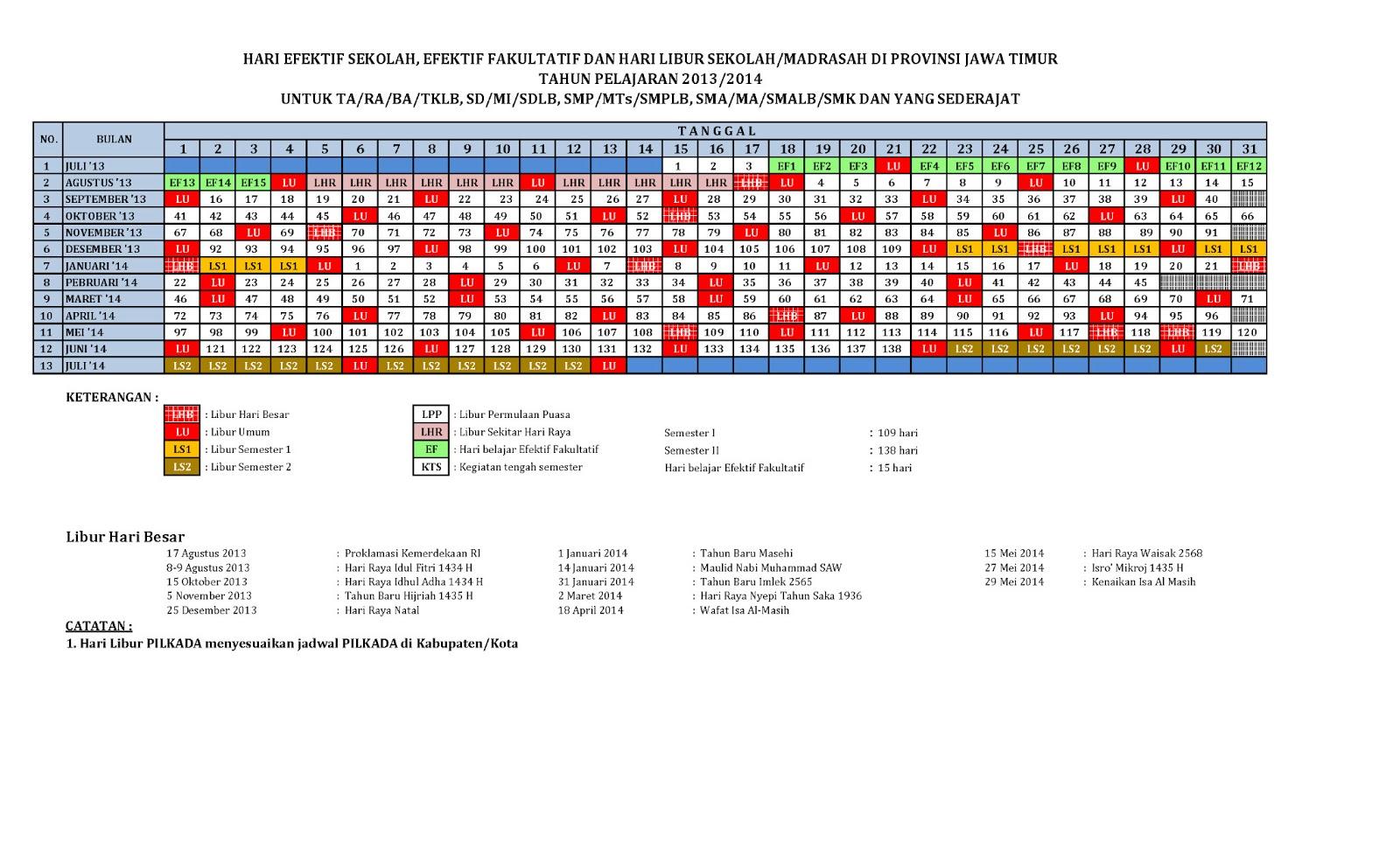 KALENDER PENDIDIKAN TAHUN 2013/2014