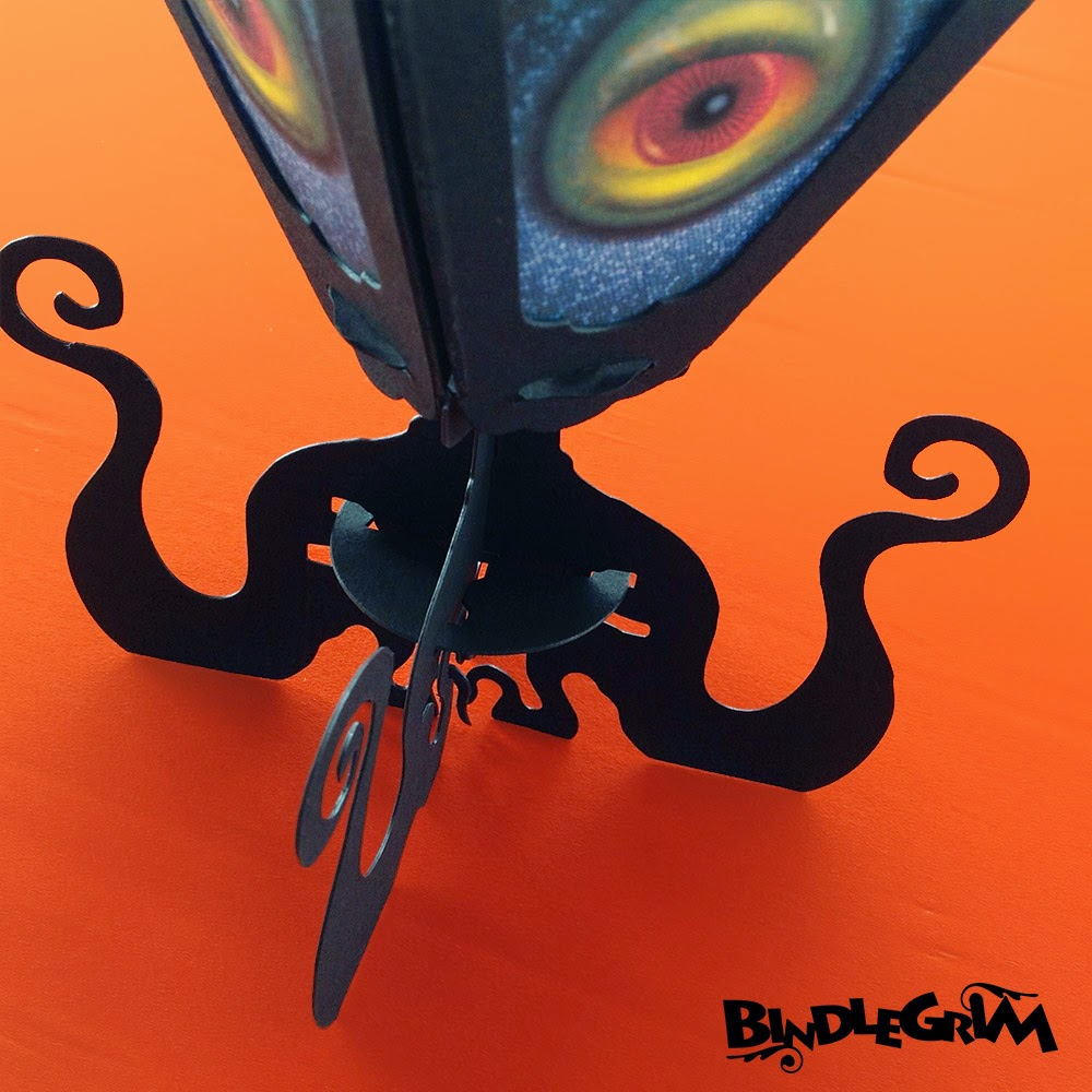 Close-up angle of tentacle monster on eight arms, a paper-art lantern by Bindlegrim