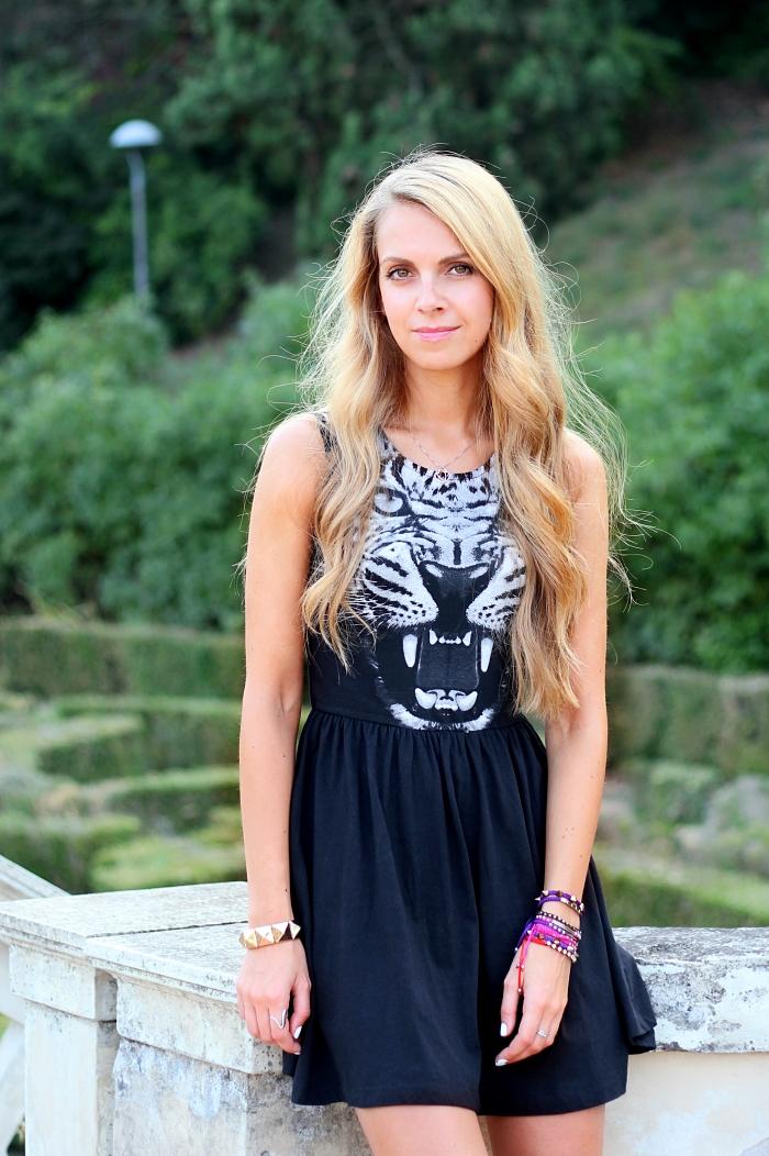 outfit, black animalier dress, leopard