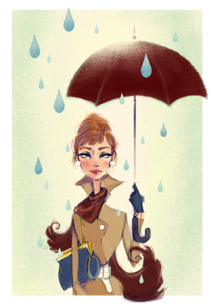 audrey hepburn autumn illustration