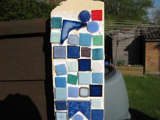 Tiled garden fence post
