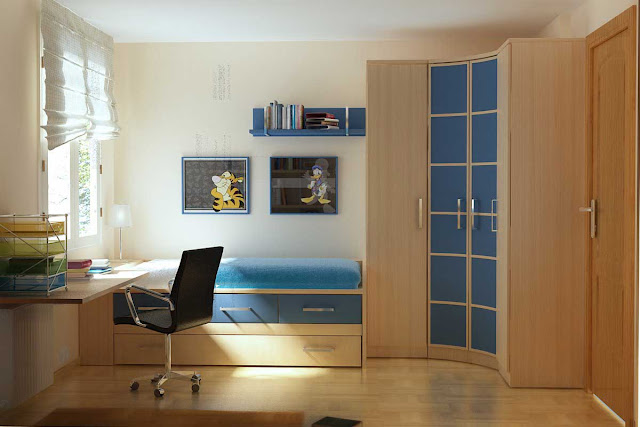 An-Awesome-Simple-Blue-And-Wood-Furniture-For-Kids-Bedroom-with-Simple-Hanging-Study-Table-And-Tundle-Bed-Also-Curved-Cupboard-Design-For-Small-Space-Also-Kids-Bedroom-Furniture-Ideas