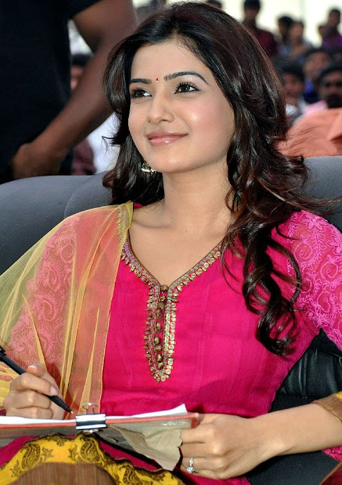 samantha beautiful in pink churidar latest photos