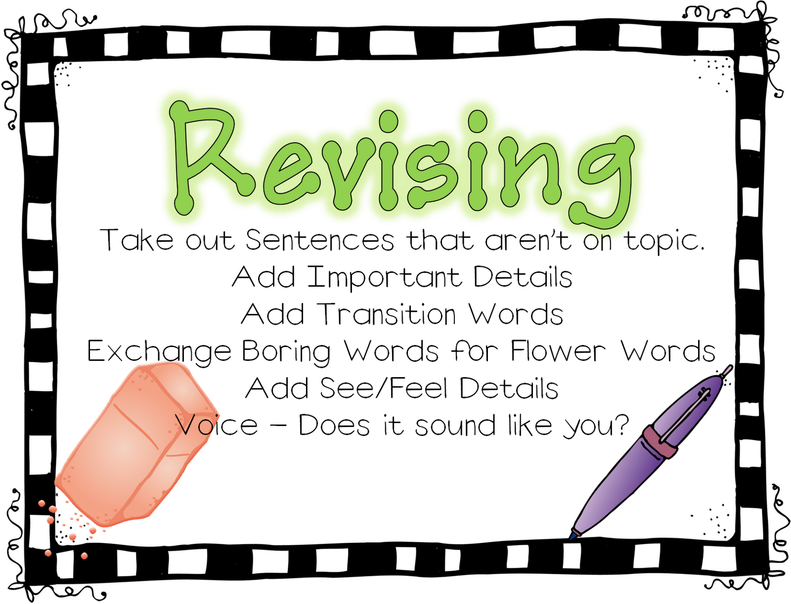 essay revising and editing Check, revise, and edit chart modeling how to use the check, revise and edit chart using an essay written on is a practical tool for revising and editing.