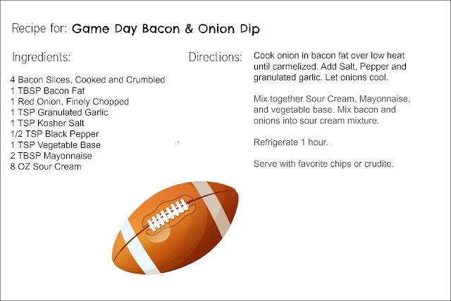 Game Day Bacon & Onion Dip Printable Recipe Card