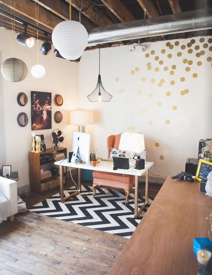 rustic chic, home office, gold dots, polka walls, wood beams, chevron rug