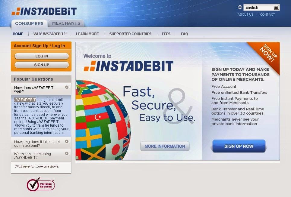 InstaDebit Screen