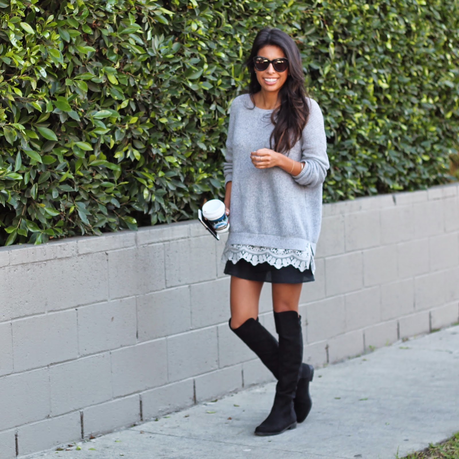 how to wear OTK boots, DSW sale, boot style, winter outfits