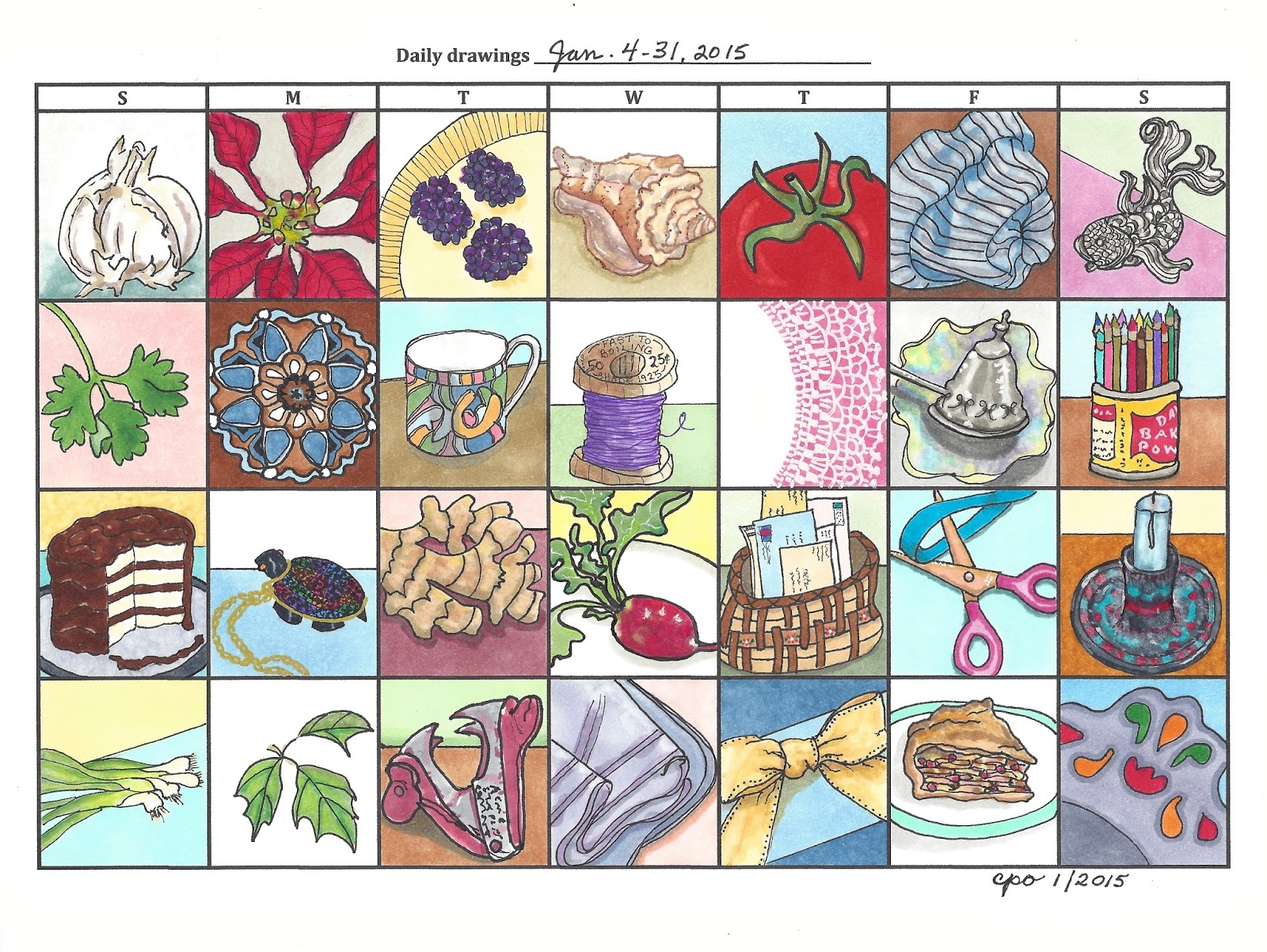 Drawing Calendar 2018 : Mostly markers
