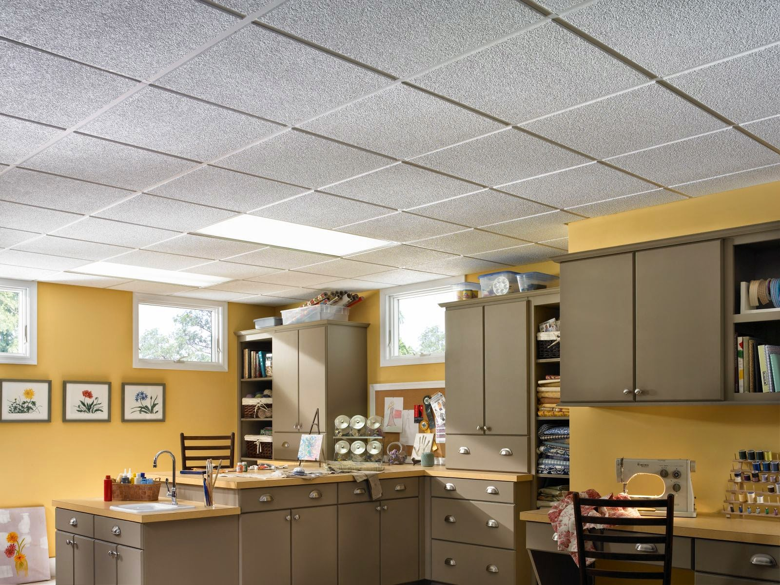 Basement Ceilings Then and Now