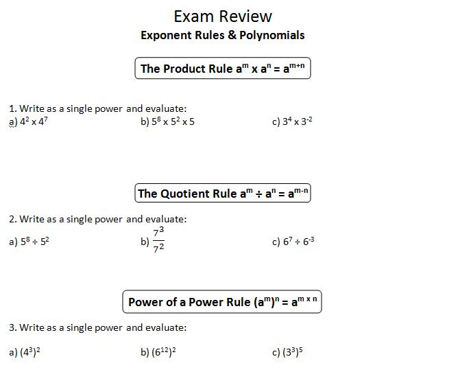 Worksheets Product Rule And Quotient Rule Exponents Worksheet inspire math mpm1d exam review 1 exponent rules polynomials solving equations