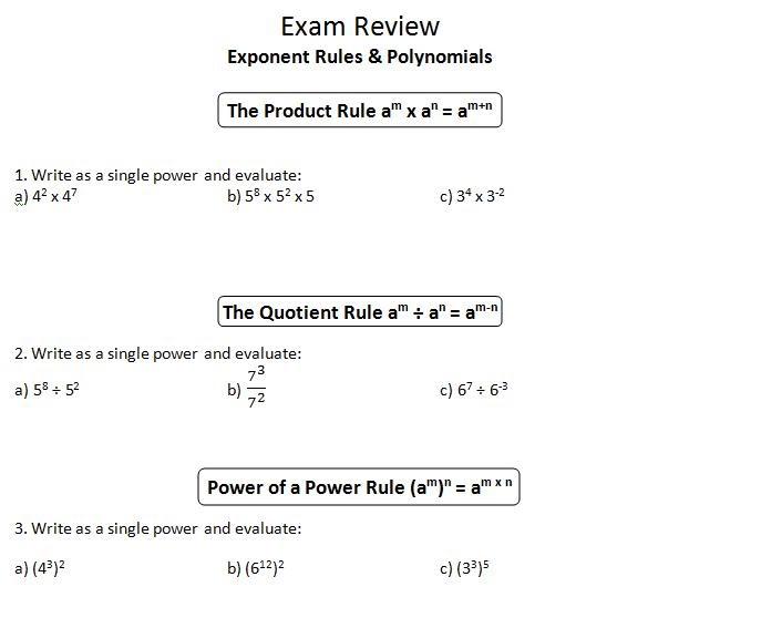 Math Worksheets pi math worksheets : ins'Pi're math: MPM1D Exam Review 1: Exponent Rules, Polynomials ...