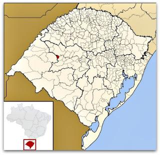 Cidade de Nova Esperança do Sul, no mapa do Rio Grande do Sul.