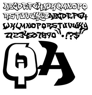 Black White Sketch Graffiti Alphabet by QA