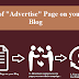 "Need of ""Advertise"" Page on your Blog 