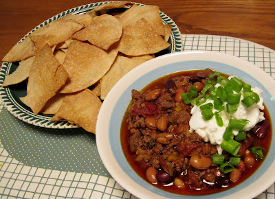 Venison chili with homemade tortilla chips