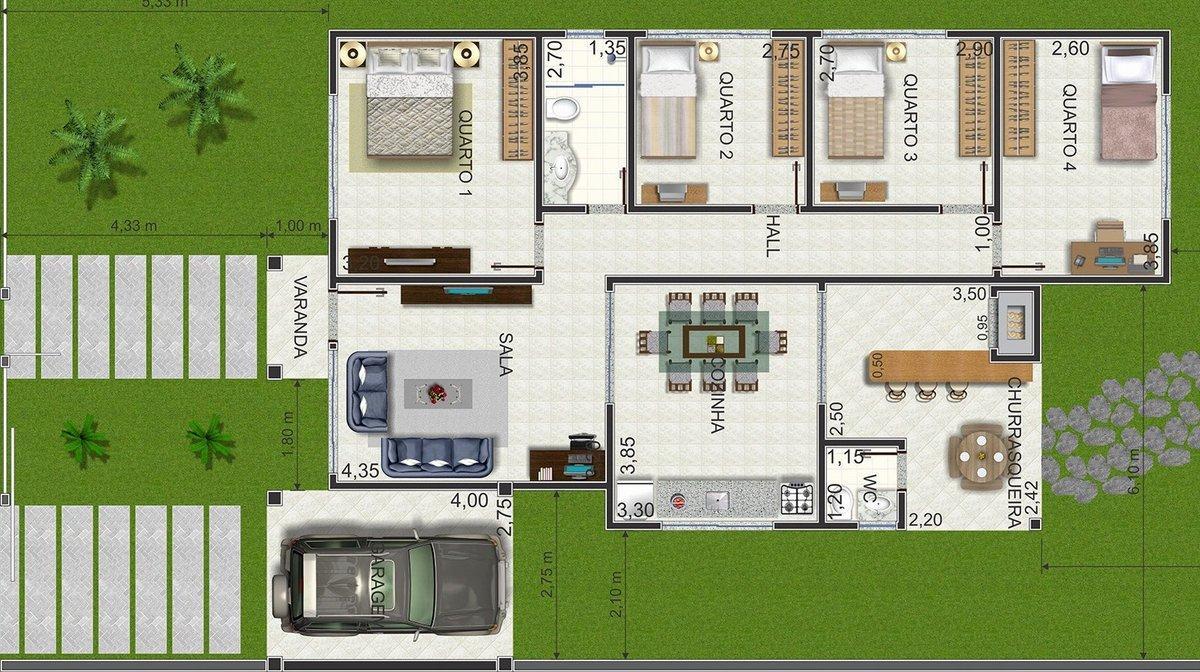 Plantas de casas modernas fotos e modelos for Casas modernas plantas