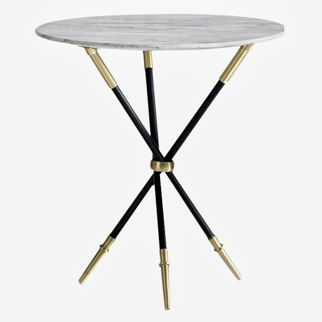 Jonathan Adler Tripod Side Table with brass trim